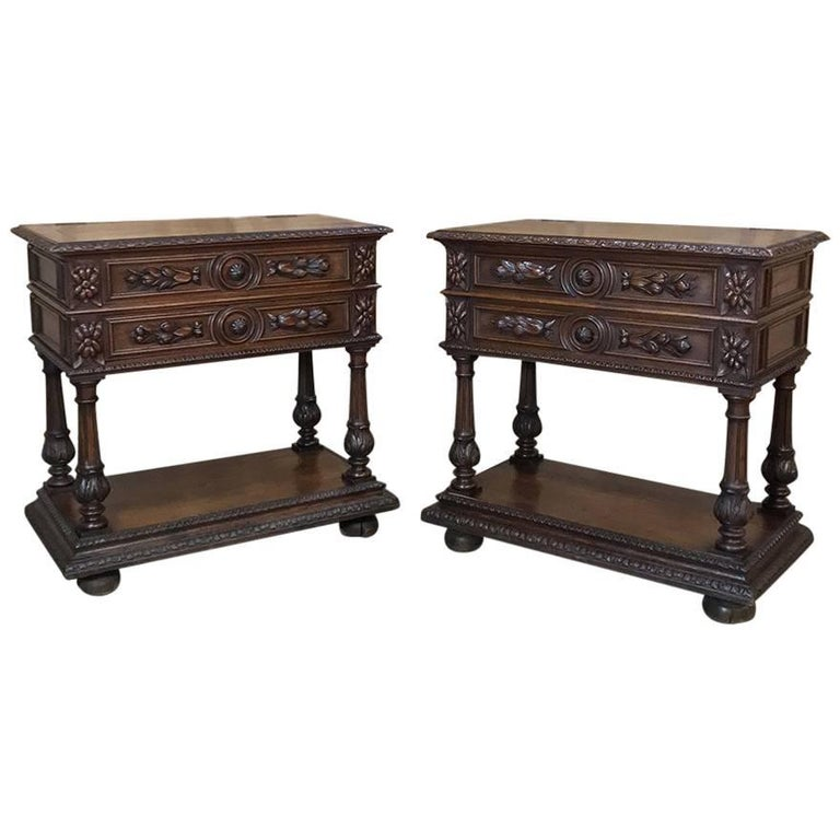 Pair of 19th Century Renaissance Servers, Silver Cabinets