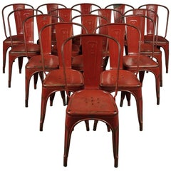 """Large Set of 15 Tolix """"Model A"""" Chairs, Designed by Xavier Pauchard, France"""