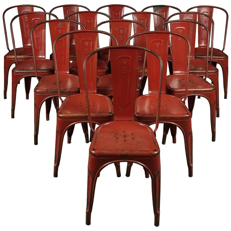 xavier pauchard french industrial dining room furniture. large set of 15 tolix \ xavier pauchard french industrial dining room furniture n