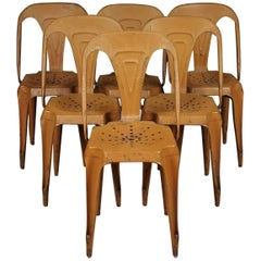 Set of Six French Bistro Chairs by Joseph Mathieu for Multipl's, Circa 1940