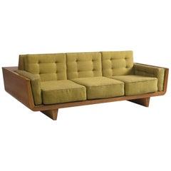 Free-Standing Italian Three-Seat Sofa in Walnut