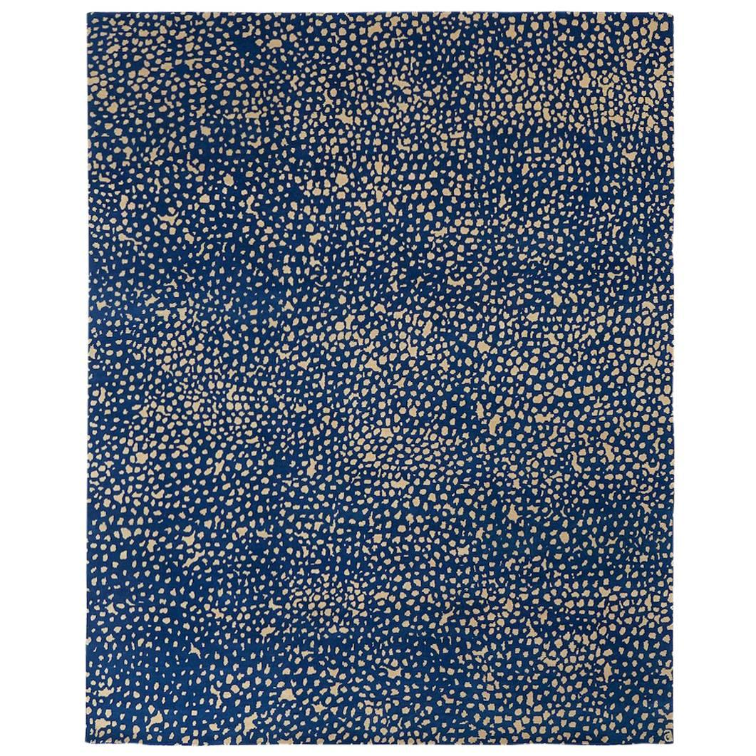 Angela Adams Starry, Blue Area Rug, 100% New Zealand Wool, Hand-Knotted, Modern