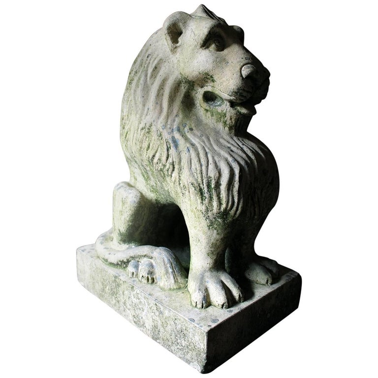 Attractive and Highly Stylised Early 20th Century Terracotta Seated Lion