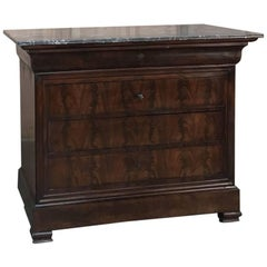 19th Century French Louis Philippe Period Mahogany Marble-Top Commode
