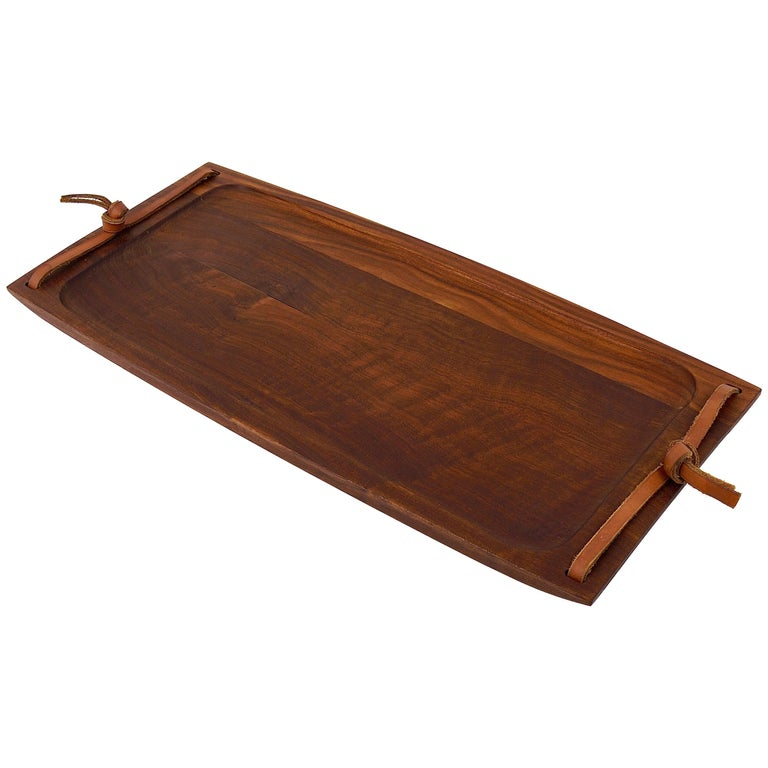 Large Carl Aubock Walnut and Leather Midcentury Serving Tray, Austria, 1950s