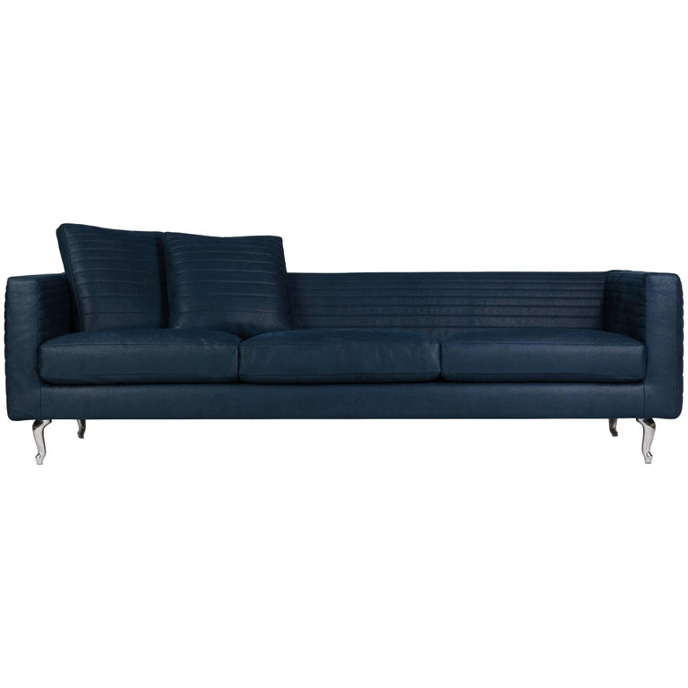 Moooi Boutique Horizons Triple Seat Sofa In Teal Fabric By Marcel Wanders For