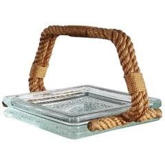 Lumax Glass and Rope Vide-Poche Dish by Audoux Minet, France 1960s