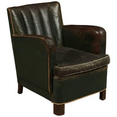 Deco Lounge Chair in Original Green Leather from Denmark, circa 1940