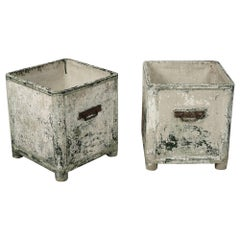 Pair of Plaster and Fiberglass Planters Manufactured by Chanal, Paris