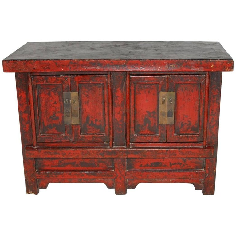 19th Century Chinese Red Lacquer Provincial Coffer For Sale