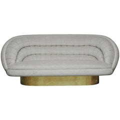 Vladimir Kagan Crescent Sofa on Brass Base