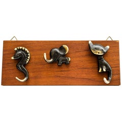 Rare Walter Bosse Hooks on Teak Wood