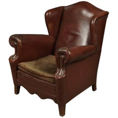 Danish Wingback Chair in Original Leather, Circa 1930