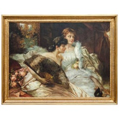 "Art Deco Oil on Canvas ""Elegant Ladies at the Ball"", Belgian School"