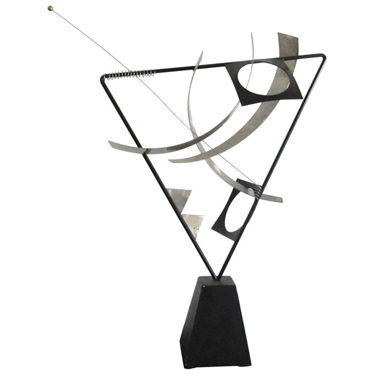 Curtis Jere Abstract Kinetic Freestanding Sculpture in Stainless Steel, 1990s