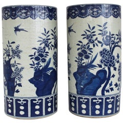 Pair of Chinese Blue and White Umbrella Stands