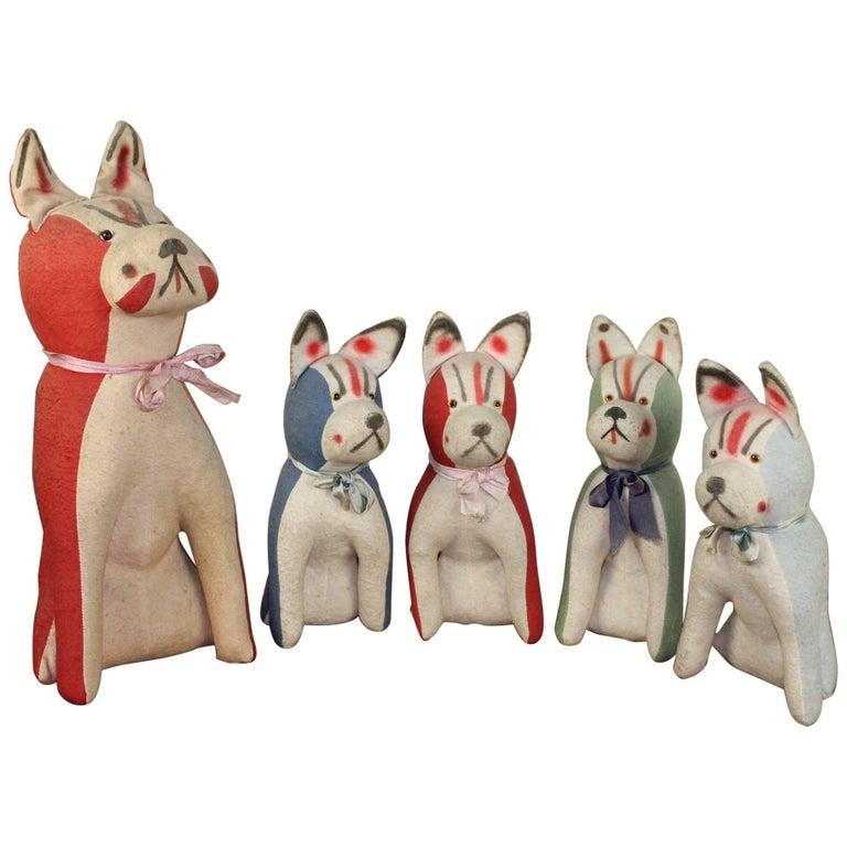 1920s Antique Family of French Bulldog Plush Toys