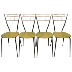Italian Midcentury Dining Chairs with Laminate Seats, Set of Four