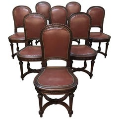 Set of Eight Antique French Louis XVI Leather Dining Chairs