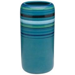 Vintage Bitossi for Rosenthal Netter Blue Stripped Modern Pottery Vase, Italy