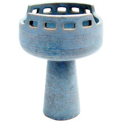 Midcentury Azure Ikebana Vase