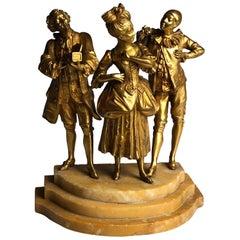 19th Century Gilt Bronze Ormolu Romantic Group on Sienna Marble Base