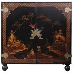 19th Century Black and Gilt Japanned Cabinet