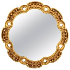 Francisco Hurtado Scalloped Giltwood Mirror with Carved Scroll-Work, Spain 1960s