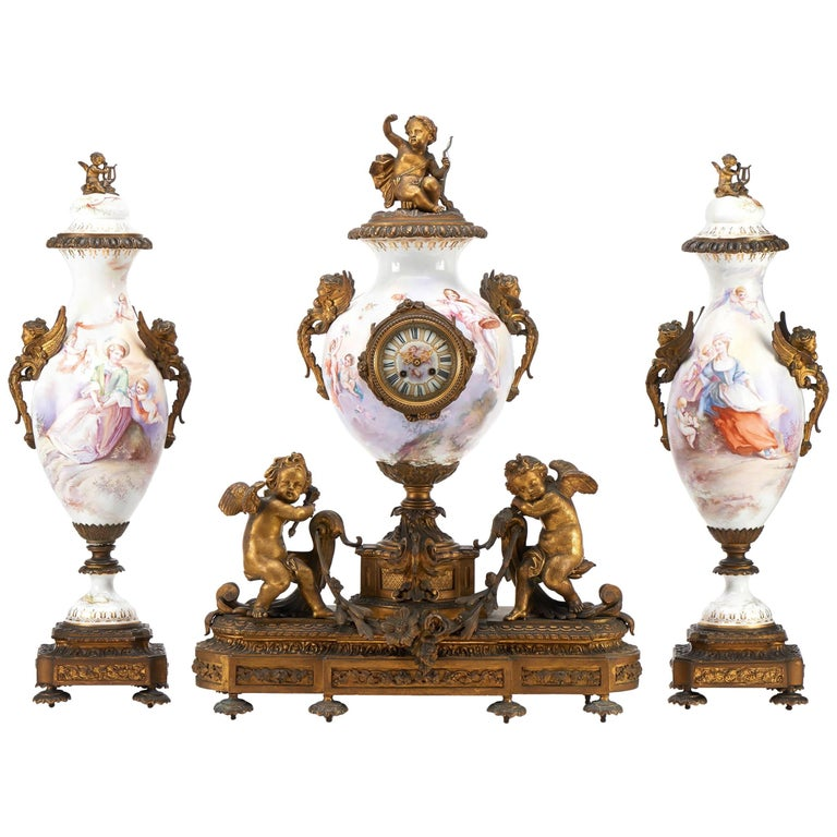 French Three-Piece Sevres Style Porcelain Clock Set