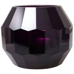 Dark Violet Hand Cut Crystal Vase Attributed to Josef Hoffmann for Moser & Söhne