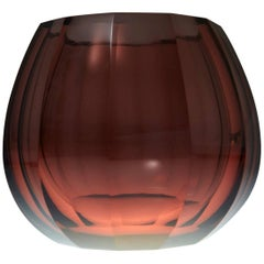 Amber Hand-Cut Crystal Vase Attributed to Josef Hoffmann Signed Moser & Söhne