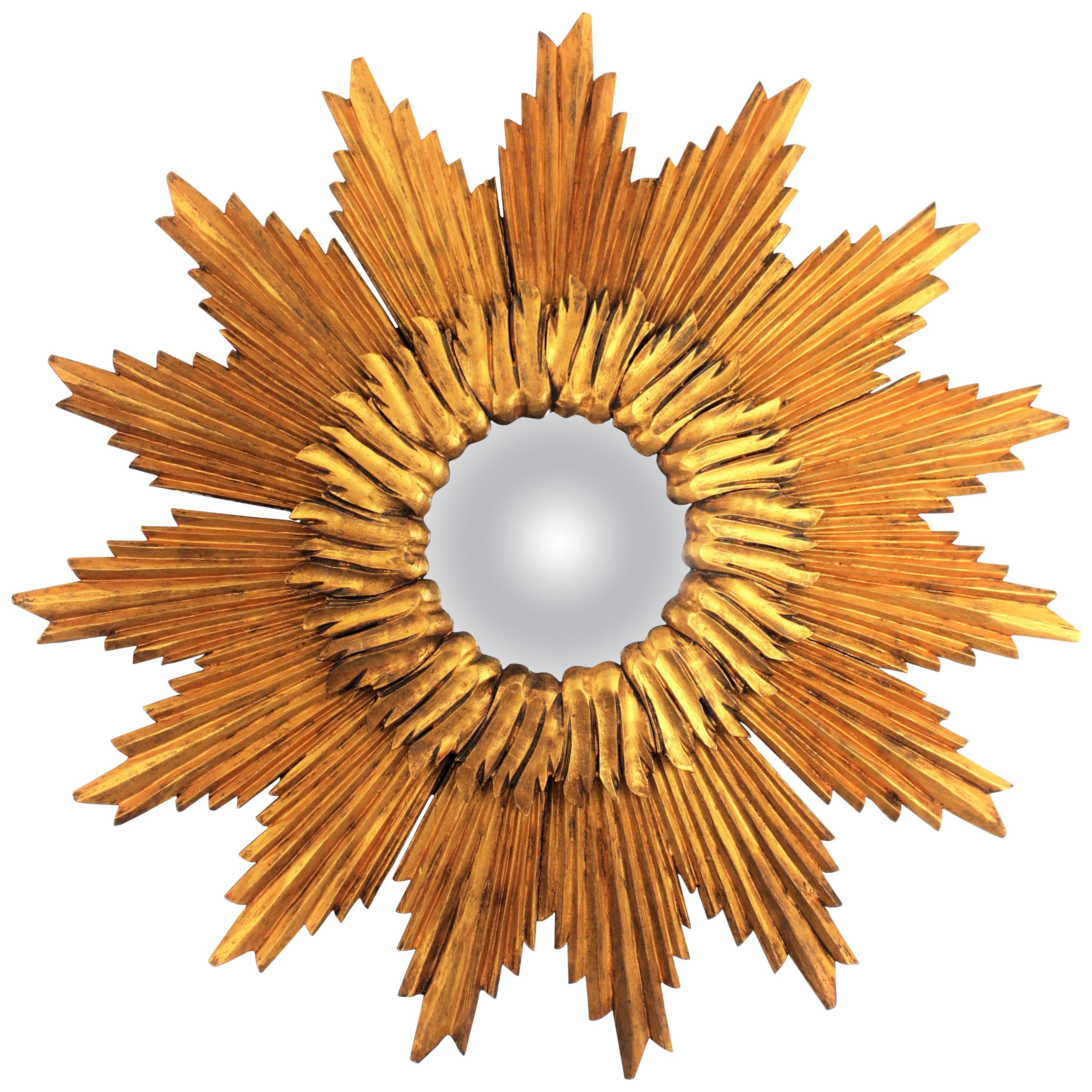 Double Layered Giltwood Sunburst Convex Mirror, France, 1960s