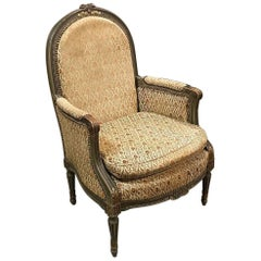 19th Century French Louis XVI Painted Armchair, Bergere