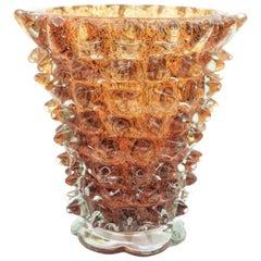 Ercole Barovier e Toso Amber & Brown Rostrato Art Glass Vase, Italy, 1930s