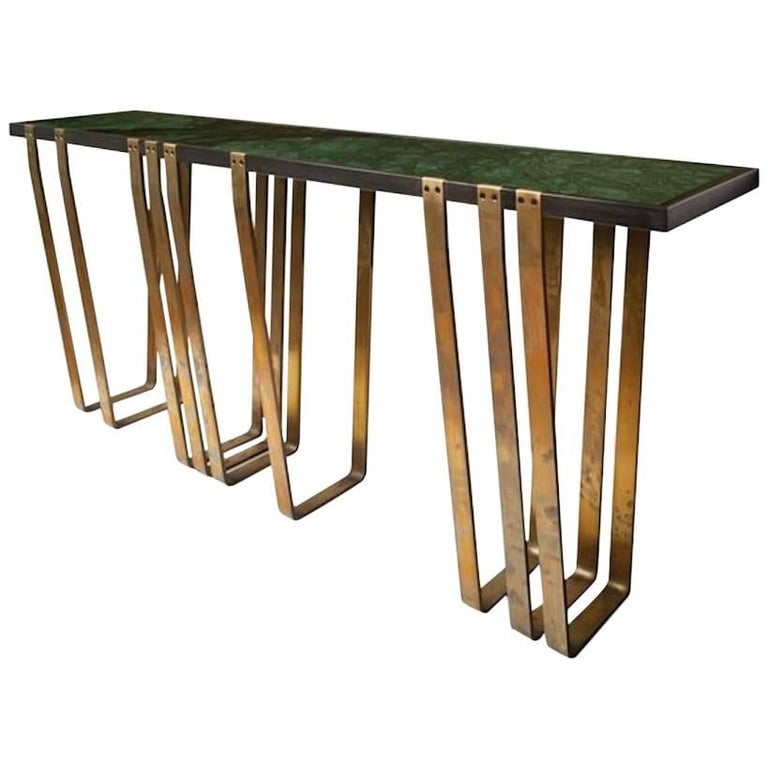 Handcrafted Console with Marble Top and Solid Brass Legs designed by Harry Clark For Sale
