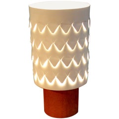 Early Table White Lamp in Teak and Perforaed Metal by Hans Agne Jakobsson