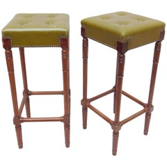 Pair of Bar Stools with Buttoned Leather Upholstered Seats and Nail Head Edging