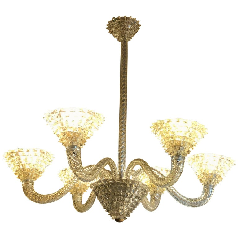 1930s Barovier e Toso Rostrato Six Lights Chandelier