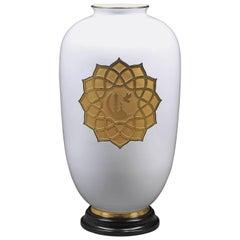 Porcelain Vase 24-Karat Gold Plating 48 Emeralds and a Brillant by P. Nebengaus