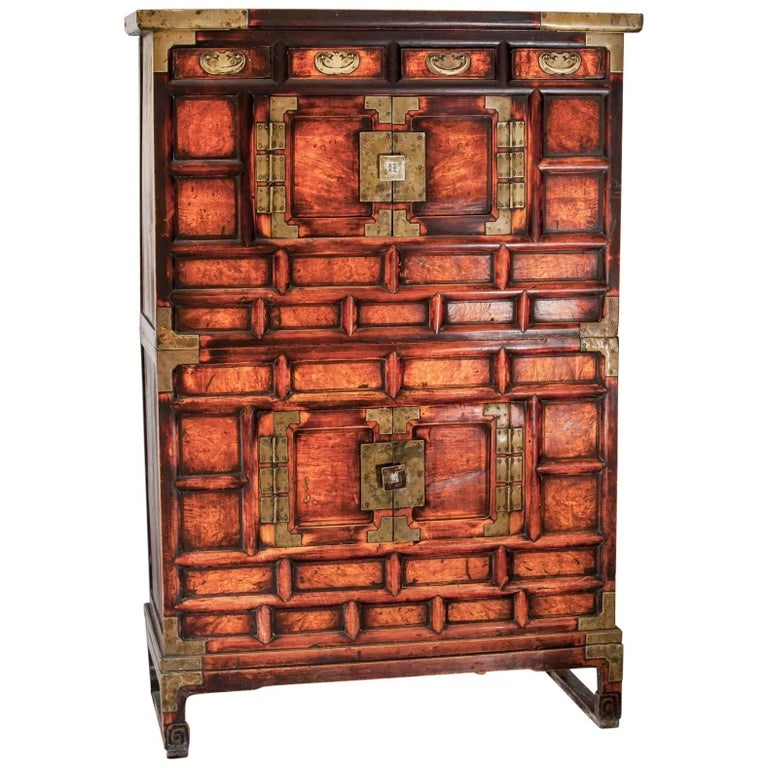 Two Sectional Chest Pine Elm Korea Yi Dynasty Dresser