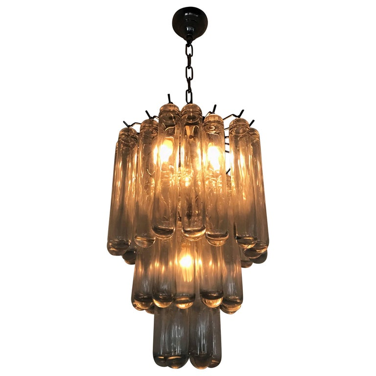 Mid-Century Modern Chandelier in Clear Murano Glass, Attributed to Venini