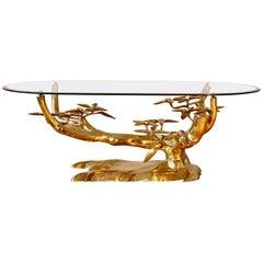 Stunning Cast Brass & Glass 'Bonsai' Tree Coffee/Cocktail Table, Belgium