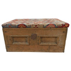 Antique Spanish Trunk with Antique Kilim Upholstered Top