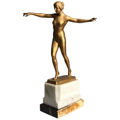 Early 20th Art Deco gilded bronze Sculpture of a Female Nude by Schmidt Hofer