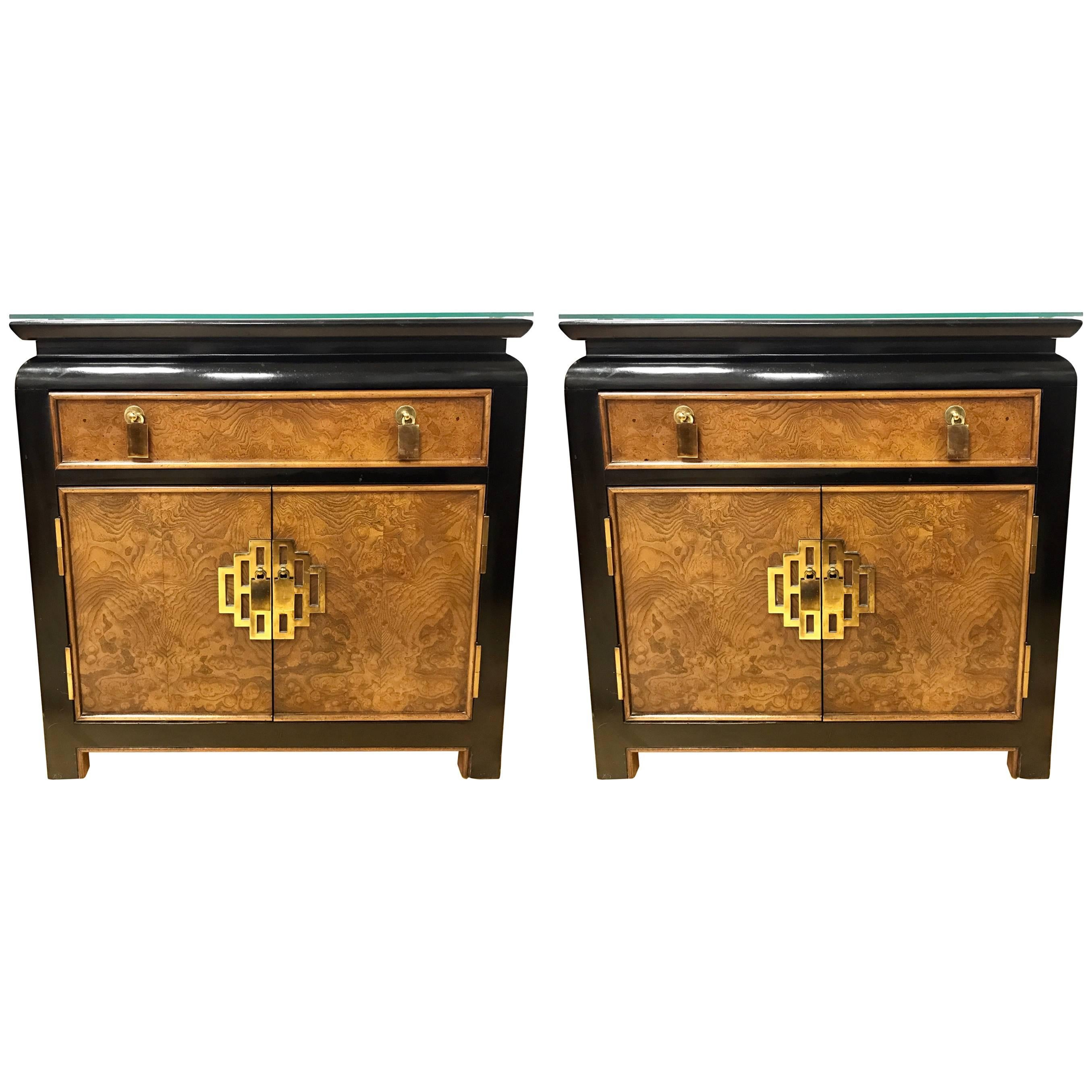 Pair of Century Furniture Nightstands End Tables Campaign Style