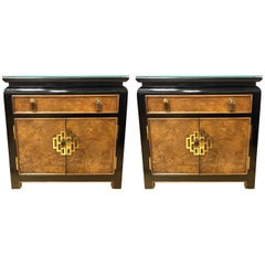Pair of Century Furniture Nightstands End Tables Campaign Style Asian