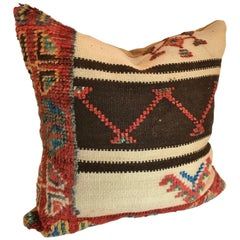 Custom Moroccan Pillow Cut from a Vintage Hand Loomed Wool Rug, Berber Tribes