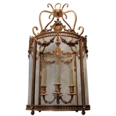 Ormolu Dore Gilt Bronze Swag Crest Four-Light Rounded Glass Lantern Fixture