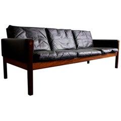 Black Leather Sofa, Model AP62 by Hans Wegner, 1960s