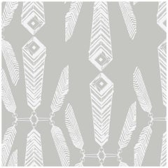 Indian Summer Designer Wallpaper in Color Heather 'White on Gray'